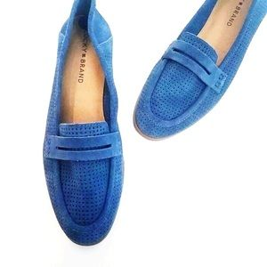 Lucky Brand Caylon Flats Loafers Blue Suede 8.5